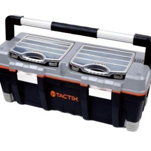 TACTIX - Εργαλειοθήκη Πλαστική με Αποσπώμενο Ράφι και 2 Ταμπακιέρες (320312)