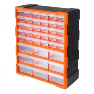 TACTIX - Κουτί Αποθήκευσης Πλαστικό, Με 39 Πλαστικά Συρτάρια Διάφανα (320636)