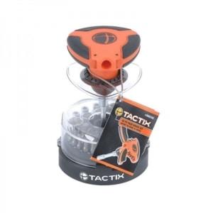TACTIX - Κατσαβίδι Παλάμης Με Καστάνια, Σετ 46 Τεμ, Με Καρυδάκια & Μύτες Σε Πλαστική Κασετίνα Με Διάφανο Καπάκι (900242)